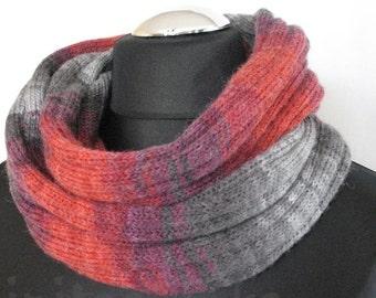 Red Striped Infinity Scarf Cowl Wrap Burgundy Gray