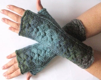 Gray Fingerless Gloves Blue Azure Green Moss Long Mittens Arm Warmers, Acrylic Wool