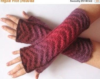 Fingerless Gloves Red Beet Purple Dark Brown wrist warmers