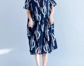 dark blue cotton long dress Loose summer womens dress