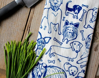 Flour Sack Tea Towel - Doggies  - Hand Printed Original illustration