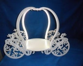 """NEW Princess Carriage Wood Cake Stand  Painted White, with Lights 15"""" Round Plate"""