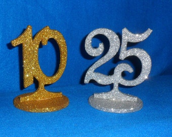 """Glittered Table Number - Wooden table number - number on a stick - number on a stem - Round base - 1-20 - Wedding table number - 6"""" tall"""