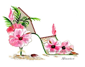 FREE SHIPPING - Pink Hibiscus, Sand and Shells Shoe rev. 2016