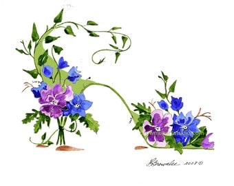 Cottage Chic Blue Vine Flower Shoe Print - Signed, Enhanced with Paint, FREE SHIPPING - Customize