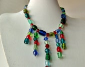 Got Color? Multi-Colored bib necklace, Explosively bright colored bib necklace, odd shaped glass beads.....