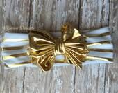 Gold and White Bow Headband, Bow Headband, Turban Headband, Knot Headband, Gold and White Stripe