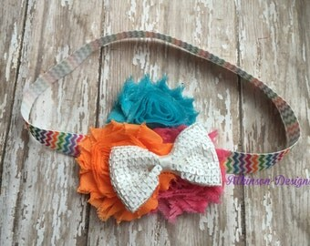 Turquoise Orange and Hot Pink Chiffon Shabby Trio Flower Chevron Headband- Newborn/Infant/Toddler/Adult- Easter Chevron Headband
