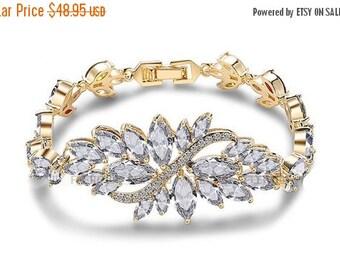 Bridal bracelet, Wedding bracelet, bridal jewelry, bridesmaid bracelet, Rose gold bracelet,Cubic zircon Crystal bracelet, bridesmaid jewelry