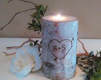 Birch tree branch candle - Engraved wedding candle - Rustic wedding candle - Home decor - Unity candle - Wedding centerpiece
