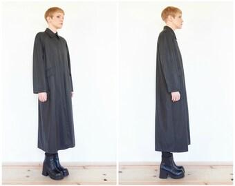 90s Minimal Black PVC Trench Coat / Jacket