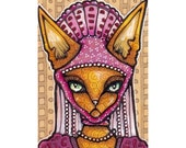Fancy Cat Original ACEO, Lady Rawr