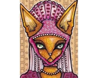 Fancy Cat Original ACEO, Lady Rawr