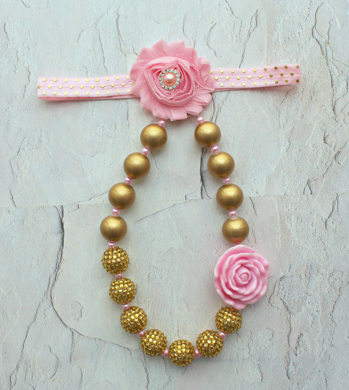 Pink & Gold 1st Birthday Gold Baby Headband Pink And Gold