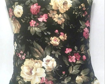 Black rose shabby chic pillow  cover/ Throw pillows / Decor pillows/ Cottage pillows