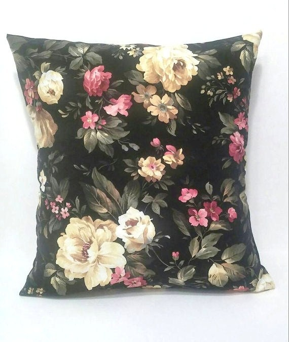 Shabby Chic Toss Pillows : Black rose shabby chic pillow cover/ Throw pillows / Decor