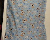 Brown and Blue Flannel Dog Print Pillow Case