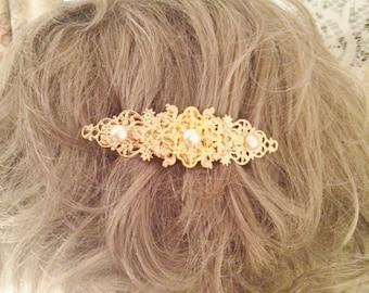 GOLD Wedding hair clip bridal clip Art Deco BARRETTE hair clip bridal Art Nouveau style GOLD pearl wedding bridal accessories