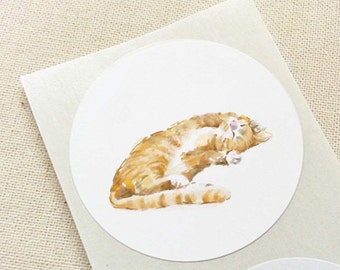 Cat Sticker / Orange Ginger Tabby / Birthday Party / Animal Birthday / Woodland Baby Shower / Animal Sticker / Kids / Baby