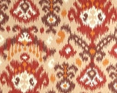 "Two  96""L x 50""W Custom  LINED  Drapes  - Rod Pocket Panels -  Ikat Southwest - Brown/Tan/Orange/Red"