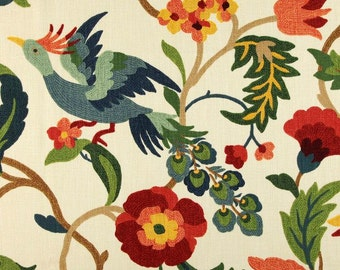 Two 96 x 50  Custom  Curtain Panels  -  Floral Bird