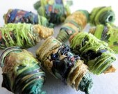 HALLOWEEN GREEN & OCHRE - 8 mixed media textile art fiber beads hand made with Tyvek - lime green ochre yellow gold dark bottle copper brown