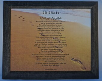 Framed DESIDERATA Poem by Max Ehrmann Footprints In The Sand Design 16 x13