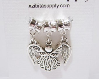 3 pieces - 1 Angel Dangle and 2 Angel Wing,Dangle Charms / Pendants - Tibetan Silver, All Charms Double Sided