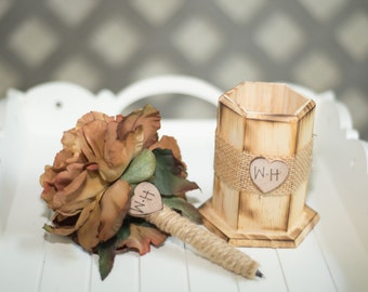 Burlap Guest book pen with vase select flower showing brown flower peony pen