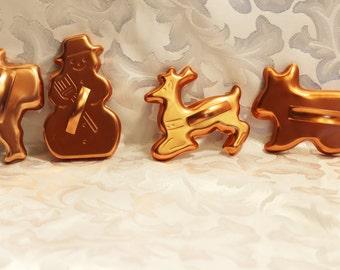 Vintage Copper Tone Metal Cookie Cutters