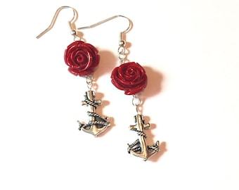 Anchor Red Rose earrings