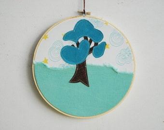 Quilted Fiber Art Hoop, Mini Art Project, Hoop Art, Stitch Art, OOAK Wall Hanging - Summer Tree