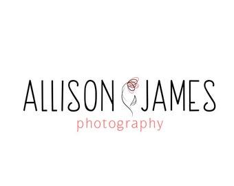 Modern Photography Logo and Watermark, Premade Customizable Flower Logo Design