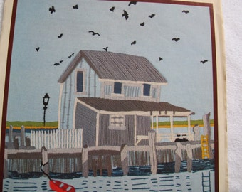 Family Circle Crewel Kit Fishing Village (Partially worked) / Seaside scene picture or pillow top