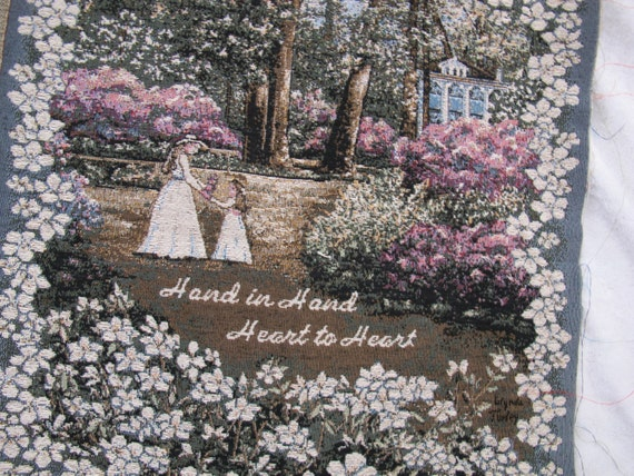 Glynda turley tapestry pillow panel hand in hand heart to for Glynda turley painting