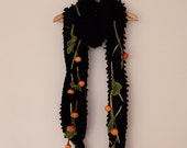 Knitted wool scarf, long scarf, Halloween, Thanksgiving day, pumpkin, wearable art, autumn trend, unique design collar, neck warmer, black