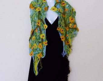 Felted wrap, felted, scarf, blue, yellow flower,green, textile scarf, wool wrap, wearable art, shoulder shawl,Mother's day gift, for her