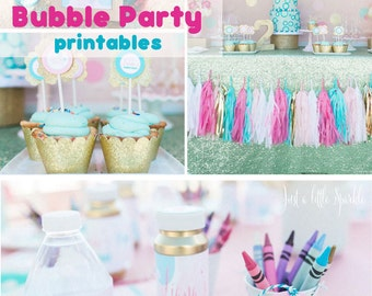 Bubble Party Printables, Bubble Birthday Party Invitation, Bubble Party Banner, Bubble Party signs, Bubble cupcake topper