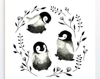 Art Print, Baby Penguins, Watercolor Painting, Illustration, Emperor, Animal, Nursery
