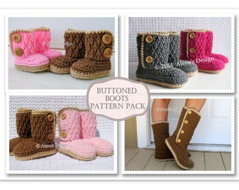 Pattern Pack for FOUR Buttoned Boots Crochet Patterns ALL sizes Crochet Pattern Slippers - Baby Booties Toddler Children Adult Winter Boots