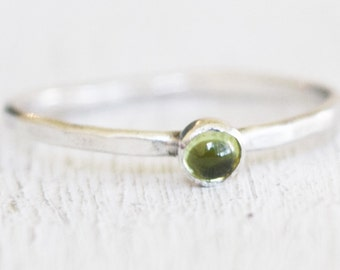 Sterling Silver Peridot Ring - Modern - Delicate - Simple - Size 6.25 - Gift For Her - Ready to Ship