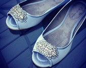 Art Deco Bridal Open toe Ballet Flats Wedding Shoes - All Full Sizes - Available in Ivory or White