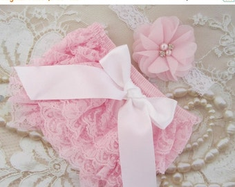 SALE 25% OFF - Pink Lace Diaper Cover Bloomers AND/Or Matching Sparkly Chiffon Flower Headband, newborn photos, baby pink lace, by Lil Miss