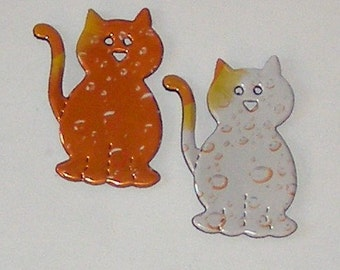 2 Kitty Cat Magnets - Orange and White Sunkist Cans