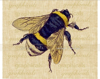 Bumble bee instant clip art Pastel insect digital download image for iron on fabric transfer burlap decoupage pillow paper craft No. 2280