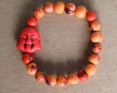 Happy Buddha and acai seeds Bracelet - Red & Tangerine -  yoga, yogi, namaste, mala,