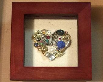 Vintage Jewelry Heart Shadow Box