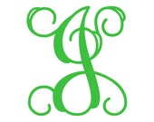 "4.5"" Vine Monogram Vinyl Decal Sticker - 1 Initial - 26 Colors to Choose From"