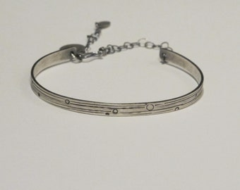 Handmade Sterling Silver Light Cuff with Clasp Bracelet - Custom Stamped Remembrance Memory Inspirations