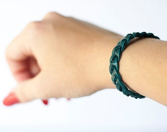 Braided Leather Bracelet / Dark Teal
